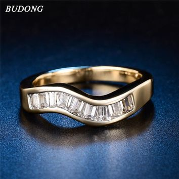 BUDONG Infinity Wave Gold-color Women Rings White Cubic Zirconia Stackable Ring Engagement Jewelry for Lady Party XUR585