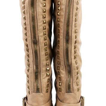 Wild Diva Tosca01d Camel Studded Back Zipper Knee High Riding Boots and Shop Boots at MakeMeChic.com