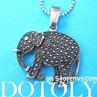 Textured Elephant Pendant Necklace in Silver | Animal Jewelry