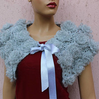 Wedding Stole Gray Capelet Knit Bolero Floral Knit Scarf Bridesmaid Gift Handmade Shoulder Wrap BUy 2 GET 1 FREE EXPRESs SHIPPING