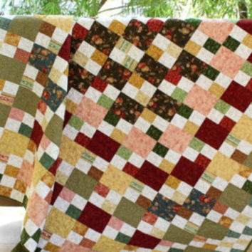 Double Bed Quilt, Patchwork Quilt, Bed Blanket, Quilted Bedspread, Postage Stamp Quilt, Quiltsy Handmade