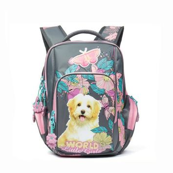 NEW child Brand school bag for girls Flowers and birds printing School Backpacks nylon cartoon dog pattern book bag For Children