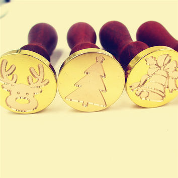 C) Retro Merry christmas wax seal stamp jingle bell Snowflake Santa Claus deer sock tree christmas gifts Stamp Wax sealing Stamp