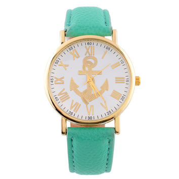 Fashion women ladies leather watch anchor roma dial numbers printing Roman quartz dress wrist watches for women ladies 5 colors