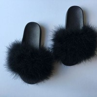 Black Fur Slides Fuzzy Slippers Furry Slides Faux Fur