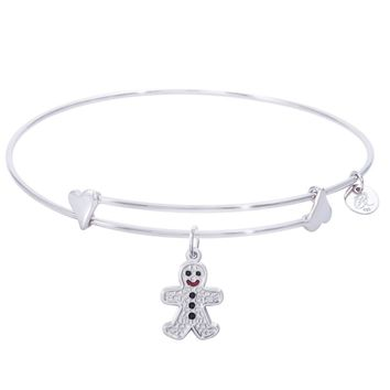 Sterling Silver Sweet Bangle Bracelet With Gingerbread Man Charm