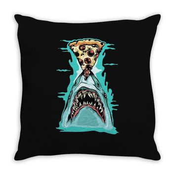 pizza shark graphic Throw Pillow