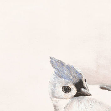 Titmouse Bird Print - Gray and White Neutral Colors - Garden Wildlife Series - 8x10