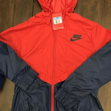 "Fashion ""NIKE"" Red/Blue Hooded Zipper Cardigan Sweatshirt Jacket Coat Windbreaker Sportswear"