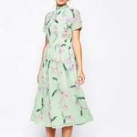 Frock and Frill All Over Embellished Floral Full Prom Midi Dress