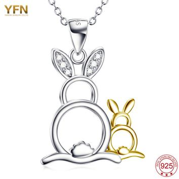 Genuine 925 Jewelry Sterling Silver Mother and Baby Rabbit Animal Pendant Necklace