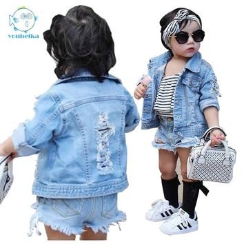 Trendy Toddler Boys Jean Jackets Denim For boy Girls Coats Kids Girl Jackets Coat Casual Baby Girl Denim Jackets Children Holes Clothes AT_94_13