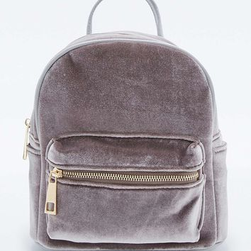Grey Velvet Backpack - Urban Outfitters