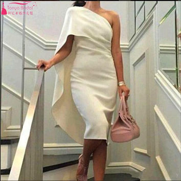 2017 Sexy Cocktail Party Dresses One Shoulder White Celebrity Dress Homecoming Arabic dresses Short Prom Gowns