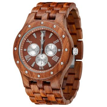 MEKU Handcrafted Mens Wooden Watch Natural Sandalwood Day Date Calendar Father Day Gifts