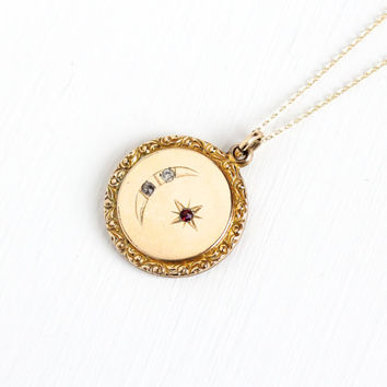 Antique Star & Crescent Moon Rhinestone Pendant Necklace - Victorian Edwardian Early 1900s Round 12k Gold Filled Fob Pendant Jewelry
