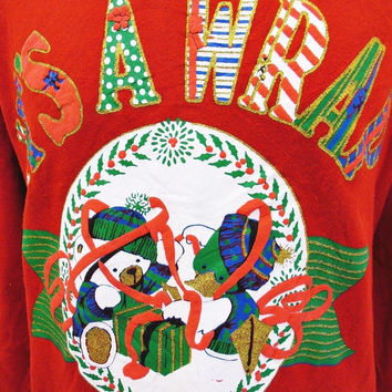 The Best Vintage Christmas Wrapping Paper Xmas Sweater Jumper Ever Large