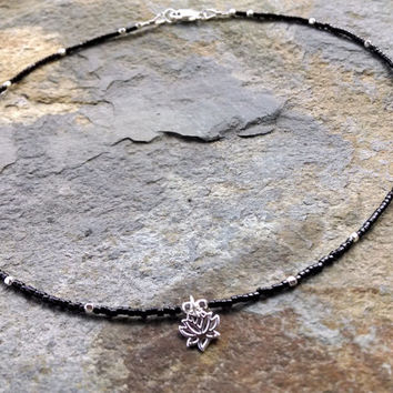 Sterling silver lotus charm necklace, beaded Charm necklace, sterling silver and black bead necklace, choker, beaded choker, charm necklace