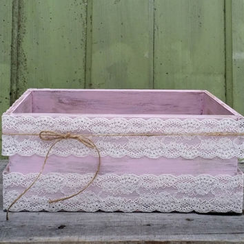 Rustic Wedding Card Box with Lace, Twine and Cards Banner, Shabby Chic Box, Baby Shower Decor, Rustic Wedding Decor