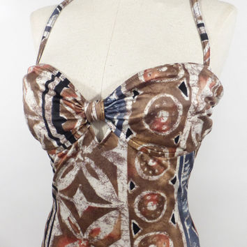 One Piece Swimsuit Vintage 1980s Batik Print Tribal Bathing Suit