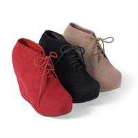 Brinley Co Womens Lace-up Wedge Bootie Red 8.5 M US