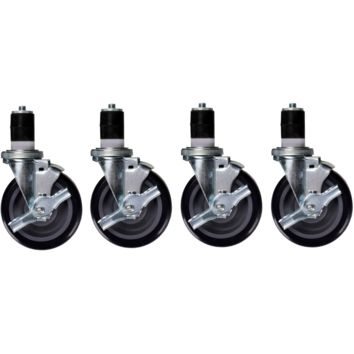 "Stainless Steel Work Prep Table Stem Casters 5"" with Brake Pack of 4"