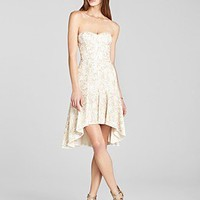 BCBGMAXAZRIA Dress - Strapless Lace Flower | Bloomingdale's