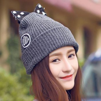 Women Warm Winter Beret Lace Rhinestone Cat Ear Crochet Knit Beanie Ski Cap Hat   Y107
