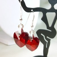 Ruby Red Faceted Glass Heart Charm Sterling Earrings