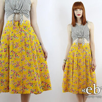 Vintage 90s Yellow Floral High Waisted Skirt L XL Floral Knee Skirt High Waist Skirt Yellow Skirt Summer Skirt Floral Midi Skirt