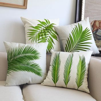 Hot sales Green leaves foliage plant Creative Bamboo Pattern Cushion Cover Comfortable PillowCover Sofa Bed home Decorative gift