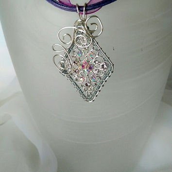 filigree charm wire wrapped pendant, Silver wire woven necklace, crystal bead pendant, purple necklace, gift for her
