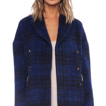 Red Valentino Plaid Pea Coat in Blue