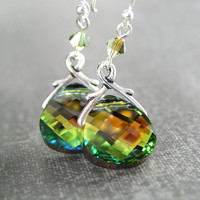 Golden Rust Green Crystal Earrings Sterling Silver RARE Swarovski Crystal Green Earrings Brown Olive Green Dangle Drop Earrings