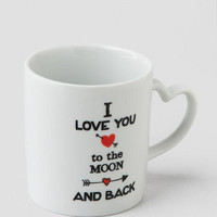 Love You to the Moon Heart Handle Mug