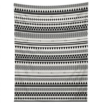 Allyson Johnson Black And White Aztec Pattern Tapestry