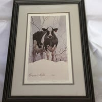 Holstein Cow in Snow Geneva Welch Art Print Framed Shabby Chic French Country Vintage Cottage Wall Home Decor Rare Signed Numbered