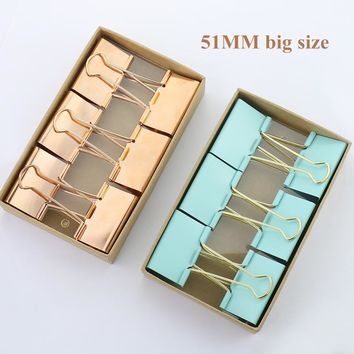 TUTU 51mm 6pcs/lot sky blue Color Rose Gold Metal big Binder Clips Notes Letter Paper Clip Office Supplies H0125