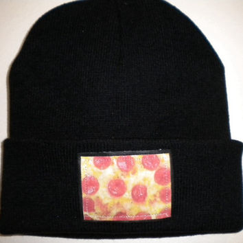 Pizza patch beanie