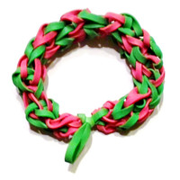 Green and Pink Rubber Band Bracelet - Great Party Favor / Gifts for Kids and Adults
