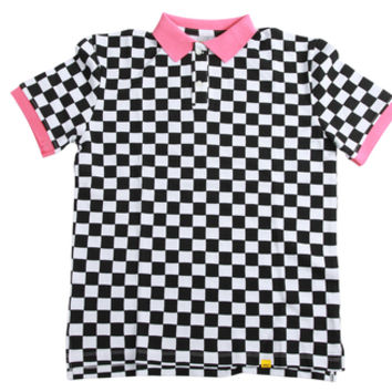 FLOGNAW CHECKERED POLO WHITE/BLACK
