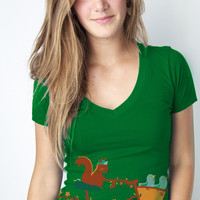 Bicycle shirt, Squirrel tee, bird tee, Bike, Nature shirt, kelly green Deep V, Available S M L XL 2XL