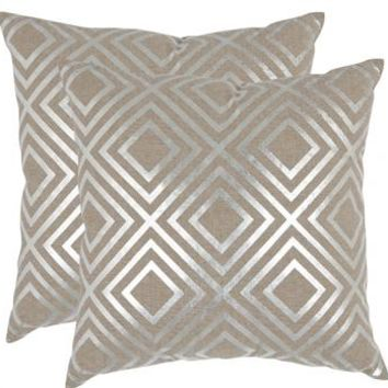 Chloe Pillows - Set of 2 - Silver Pillows - Accent Pillows - Toss Pillows - Couch Pillows - Decorative Pillow | HomeDecorators.com