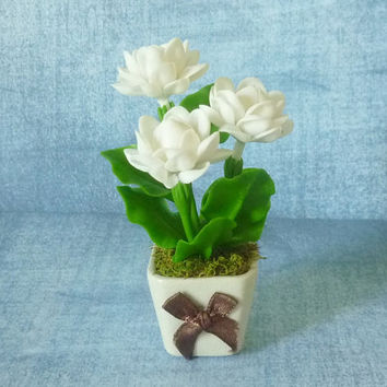 White rose pot artificial clay flower 4 inch/Dollhouse miniture /Miniature clay flower pots/ Miniature flower