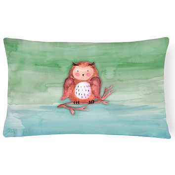Brown Owl Watercolor Canvas Fabric Decorative Pillow BB7443PW1216