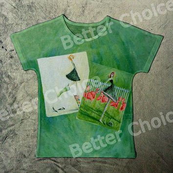 Track Ship+Vintage Retro Cool Rock&Roll Punk T-shirt Top Tee Two Green Girl Friends with Garden Flower 0057