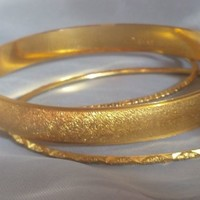 Vintage Signed CROWN TRIFARI L Golden Bangle Bracelet Set 3 Designer Fashion LOT
