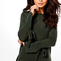 Petite Evie Eyelet lace Up Sleeve Jumper | Boohoo