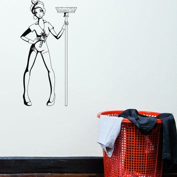 Wall Vinyl Sticker Decal Decor Girl Cleaning Cleaner Pin-Up Mop Unique Gift (g072)