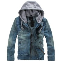 Mens Denim Jean Jacket Vintage Classic Detachable Hooded(blue, M)